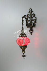Turkish Mosaic Double Wall Sconce, With Medium Globes - TurkishLights.NET