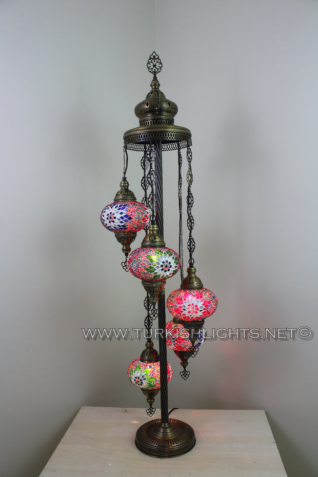 5 BALL TURKISH MOSAIC FLOOR LAMP WITH LARGE GLOBES, LAMBADER - TurkishLights.NET