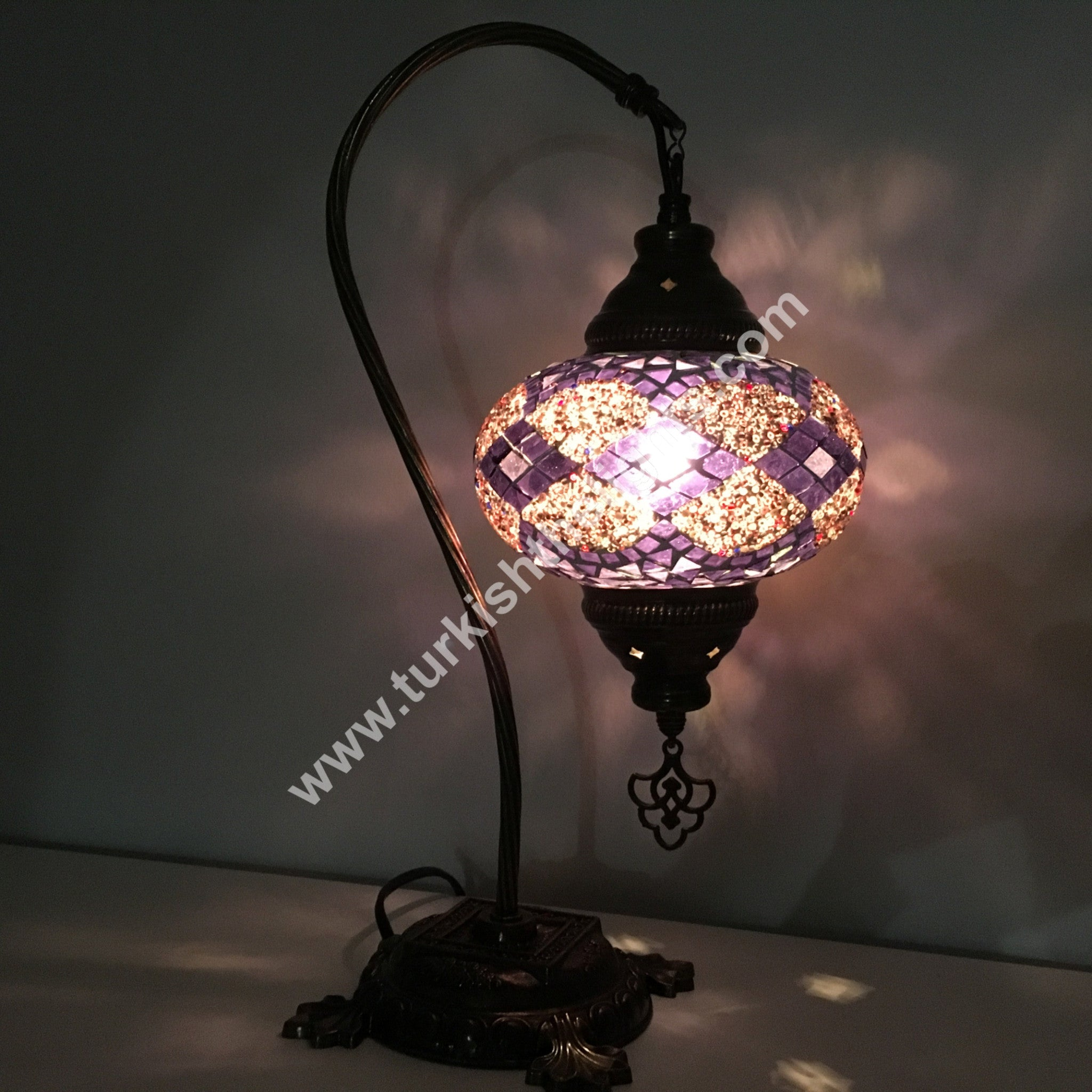 Swan Neck Mosaic Table Lamp Large Globe Special Edition Turkishlights Net
