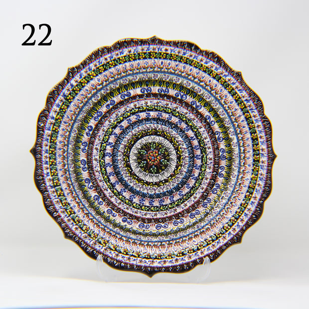 "HAND MADE TURKISH CERAMIC PLATE, 30 cm(11.8"") no22 - TurkishLights.NET"