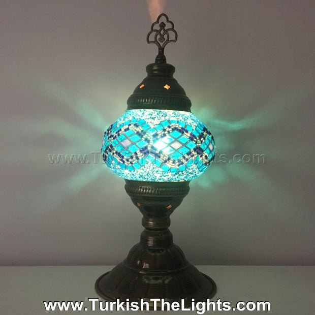 TURKISH MOSAIC TABLE LAMP,  MEDIUM GLOBE - TurkishLights.NET