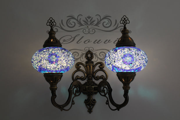 Turkish Mosaic Double Wall Sconce, With Large Globes, Upward - TurkishLights.NET
