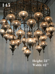 Turkish Mosaic Chandelier With 37 Large Globes  ,ID: 145, FREE SHIPPING - TurkishLights.NET