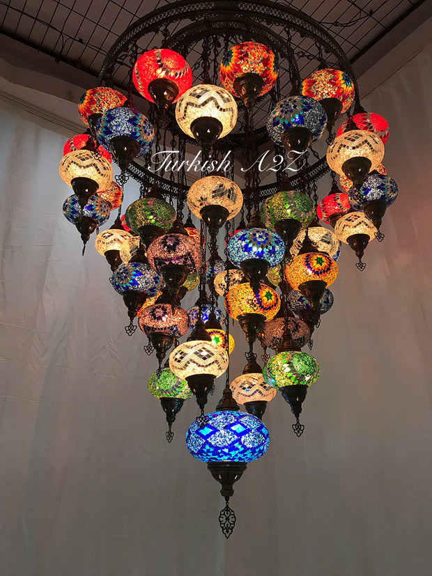 Turkish Mosaic Chandelier With 51  Large Globes  ,ID: 153, FREE SHIPPING - TurkishLights.NET