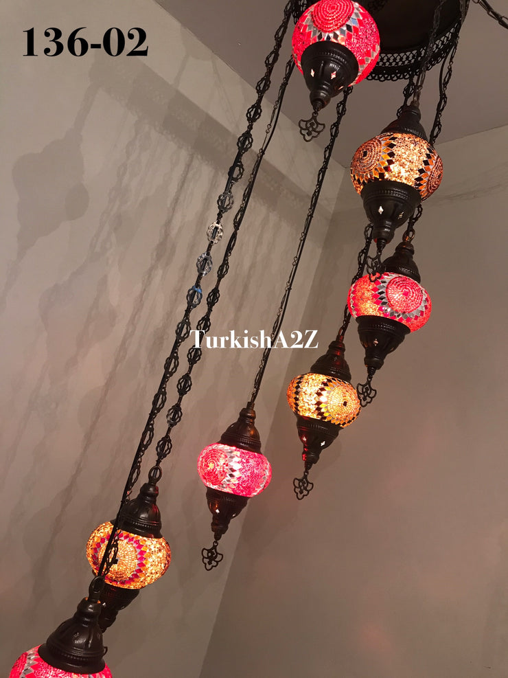 Turkish Mosaic Chandelier with 7 Medium - BALL(Swag Cable Option),ID: 136 - TurkishLights.NET