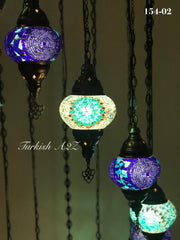 Turkish Mosaic Chandelier with 13  MEDIUM GLOBES, ID:154 - TurkishLights.NET