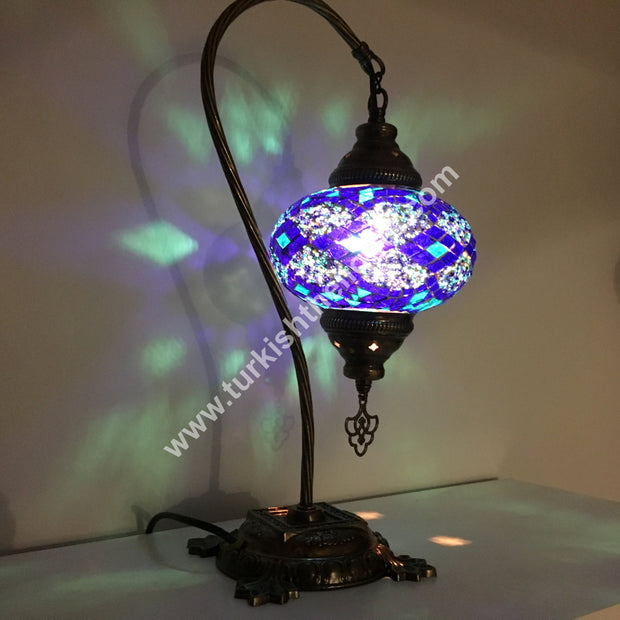 SWAN NECK MOSAIC TABLE LAMP, LARGE GLOBE SPECIAL EDITION - TurkishLights.NET