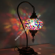 SWAN NECK MOSAIC TABLE LAMP, BIG GLOBE - TurkishLights.NET