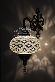 Turkish Mosaic Wall Sconce, With Extra Large Globes - TurkishLights.NET