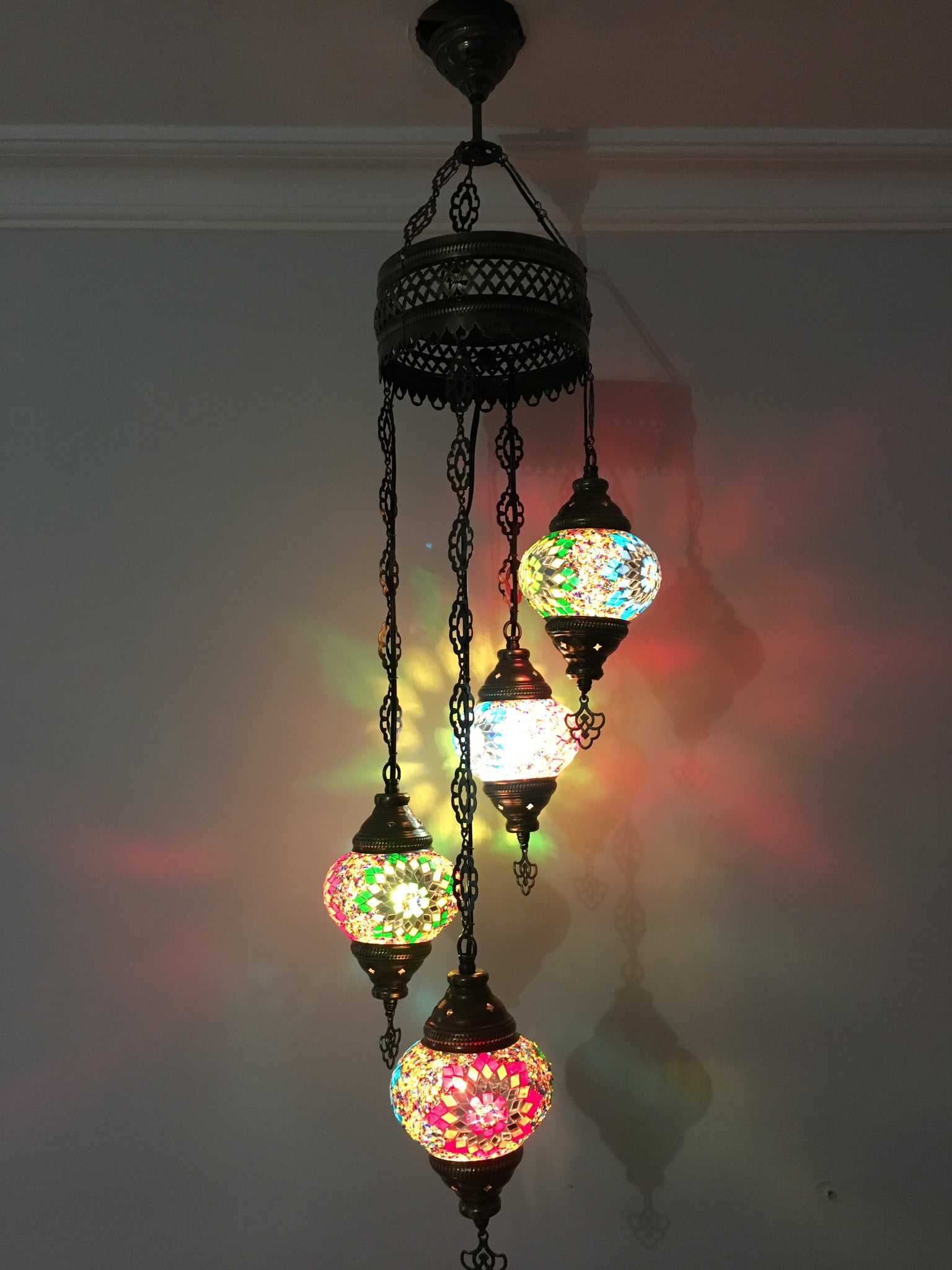 4 BALL TURKISH MOSAIC CHANDELIER – TurkishLights NET