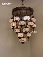 Turkish Mosaic Chandelier With 21 Medium Globes (with remote) ,ID: 142, FREE SHIPPING - TurkishLights.NET