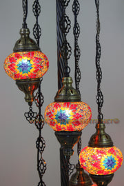 5 BALL TURKISH MOSAIC FLOOR LAMP WITH MEDIUM GLOBES, LAMBADER - TurkishLights.NET