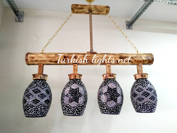 Wooden Kitchen Island Pendant With 4 Globes, ID:201 - TurkishLights.NET