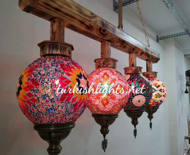 Wooden Kitchen Island Pendant With 4 Globes, ID:200 - TurkishLights.NET