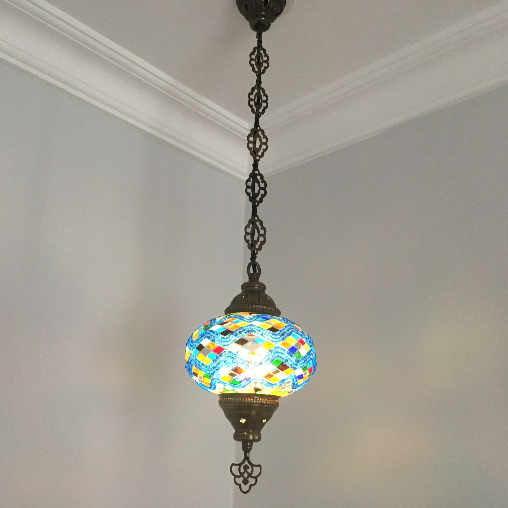 Turkish Handmade Mosaic Hanging Lamp Large Globe Special Edition - Long hanging light fixtures