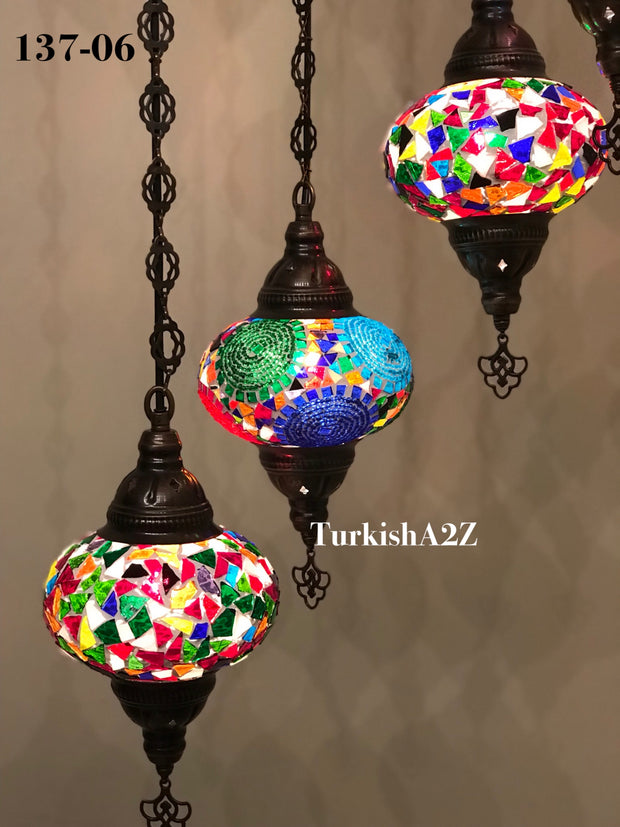Turkish Mosaic Chandelier with 7 Large- BALL (Swag cable option),ID: 137 - TurkishLights.NET