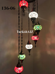 Turkish Mosaic Chandelier with 7 Medium - BALL , Swag Cable Option(Christmas colours) ,ID: 136 - TurkishLights.NET