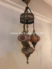 4 - BALL SULTAN TURKISH MOSAIC CHANDELIER WITH   LARGE GLOBES - TurkishLights.NET