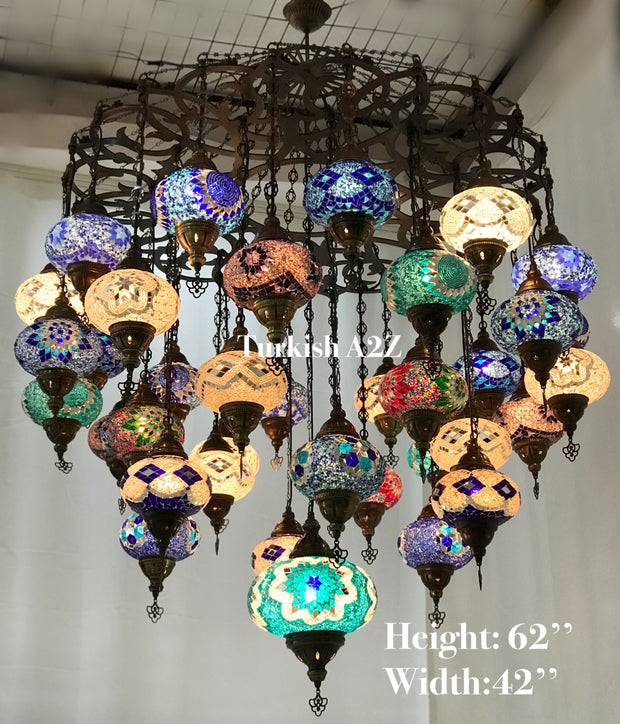 Turkish Mosaic Chandelier With 37 Large Globes  ,ID: 144, FREE SHIPPING - TurkishLights.NET