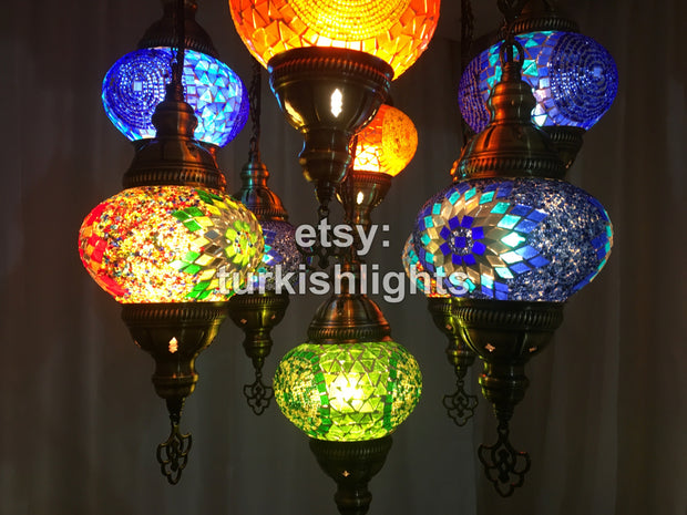 9-BALL TURKISH SULTAN MOSAIC CHANDELIER - TurkishLights.NET