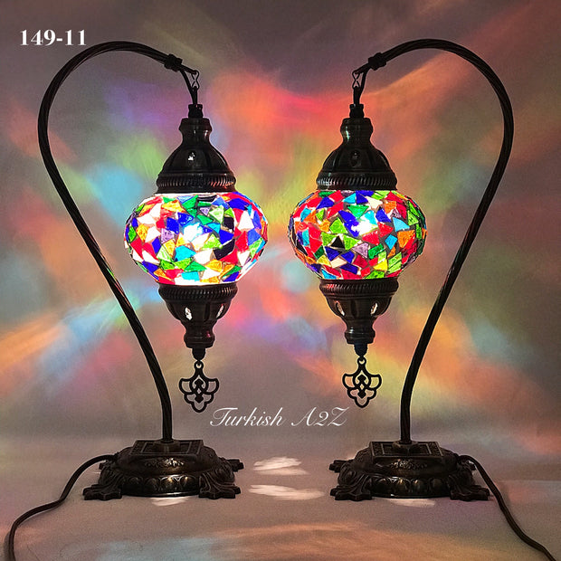 Pair of Mosaic Table  Lamp, SWAN NECK With Medium Globe , Product ID: 149 - TurkishLights.NET