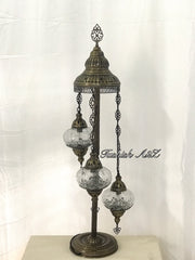 Ottoman Turkish  Mosaic Floor Lamp  With 3 Cracked Globe,ID:151 - TurkishLights.NET