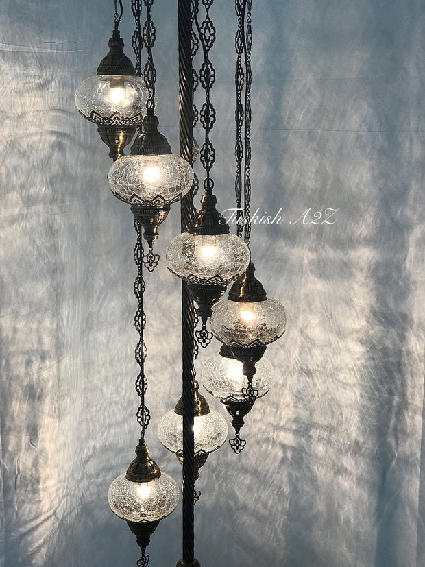 Ottoman TURKISH MOSAIC FLOOR LAMP with 7 Cracked GLOBES,ID:151 - TurkishLights.NET