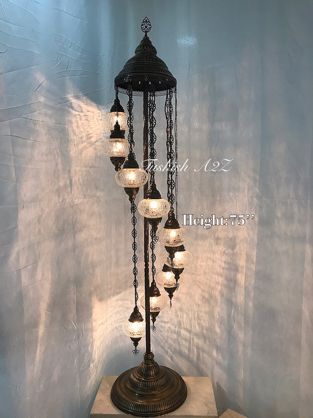 Ottoman TURKISH MOSAIC FLOOR LAMP with 9 Cracked GLOBES,ID:151 - TurkishLights.NET
