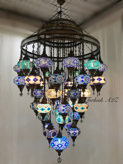 Turkish Mosaic Chandelier With 51  Large Globes  ,ID: 153 Free shipping - TurkishLights.NET