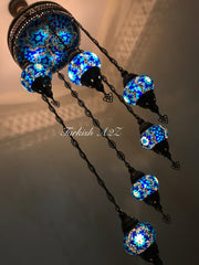 Chandelier With light in ceiling 155 (medium globe) - TurkishLights.NET
