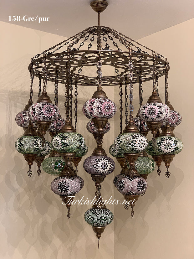 Turkish Mosaic Chandelier With 24 Large Globes  ,ID: 158, FREE SHIPPING - TurkishLights.NET