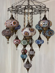 TURKISH SULTAN MOSAIC CHANDELIER 17 Globes, FREE SHIPPING , Product ID:160 - TurkishLights.NET