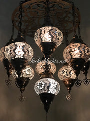 9-BALL Turkish Sultan Mosaic Chandelier With (MEDIUM) GLOBES ,ID:161 - TurkishLights.NET