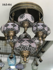 9  BALL SULTAN  CHANDELIER (Large globe) , Short Chandelier Flush Against the ceiling - TurkishLights.NET