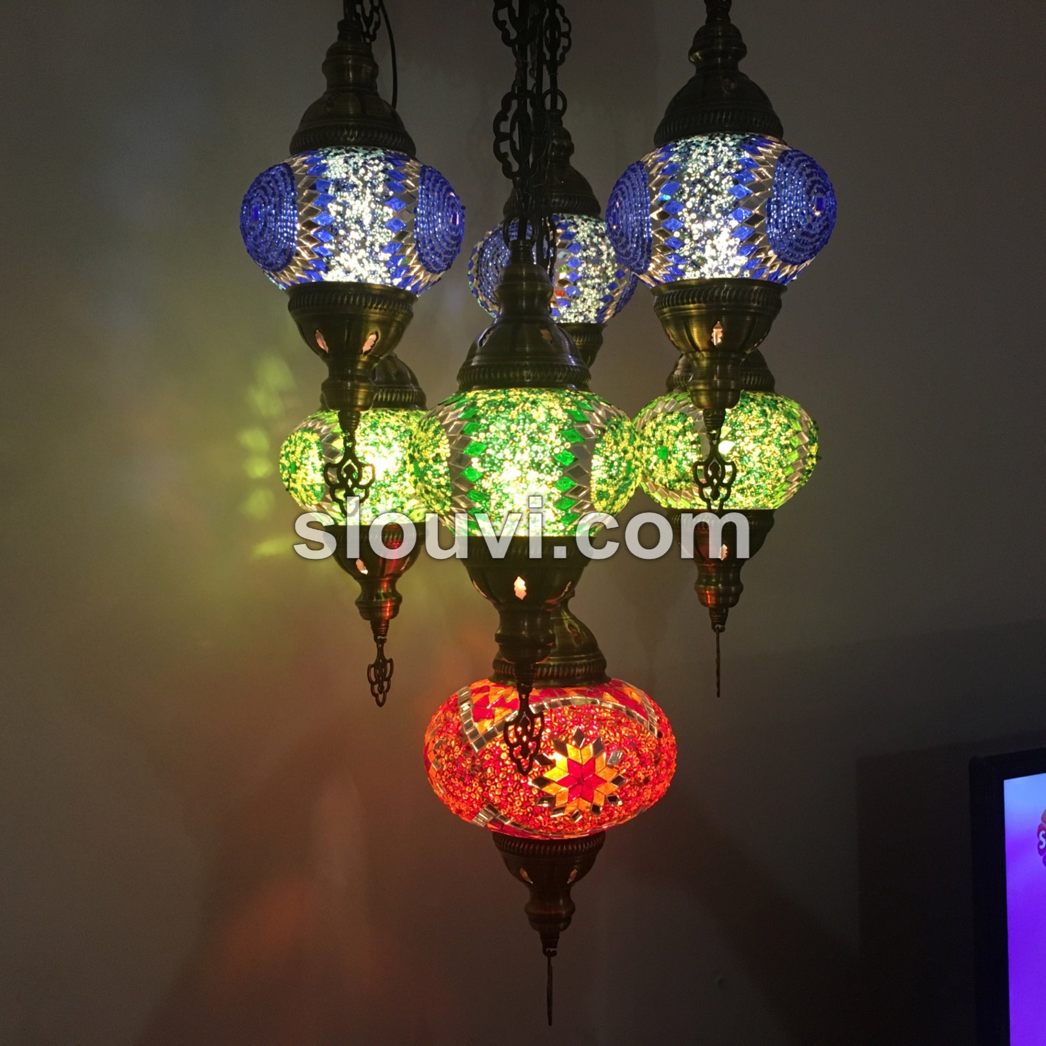 7 ball sultan turkish mosaic chandelier turkishlights 7 ball sultan turkish mosaic chandelier aloadofball Images
