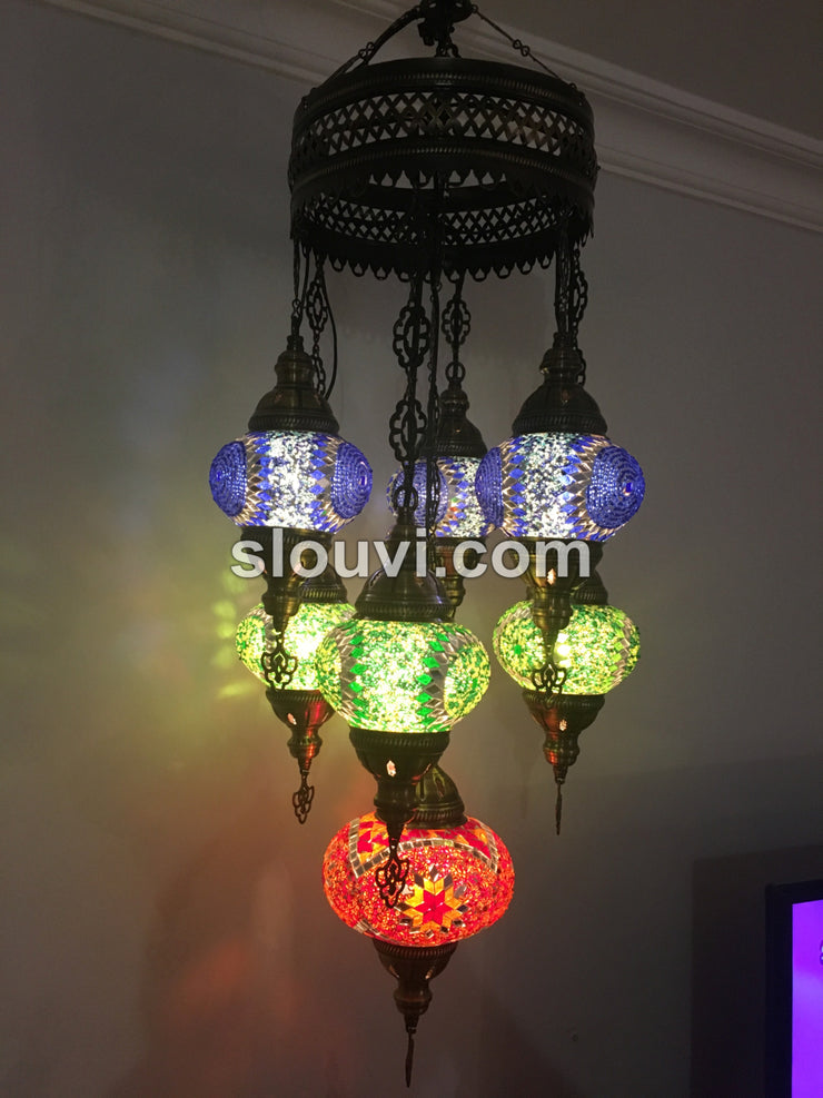 7 - BALL SULTAN TURKISH MOSAIC CHANDELIER - TurkishLights.NET