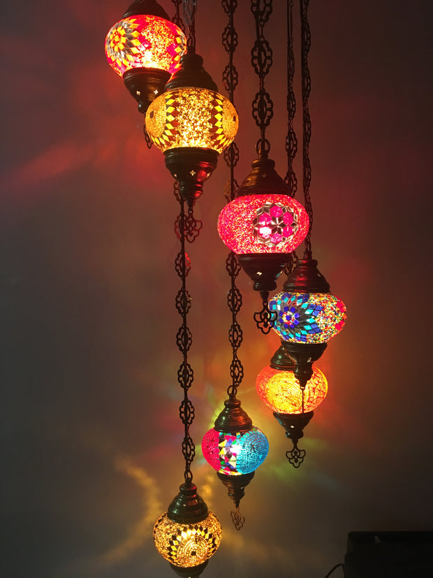 7 - BALL TURKISH MOSAIC CHANDELIER - TurkishLights.NET