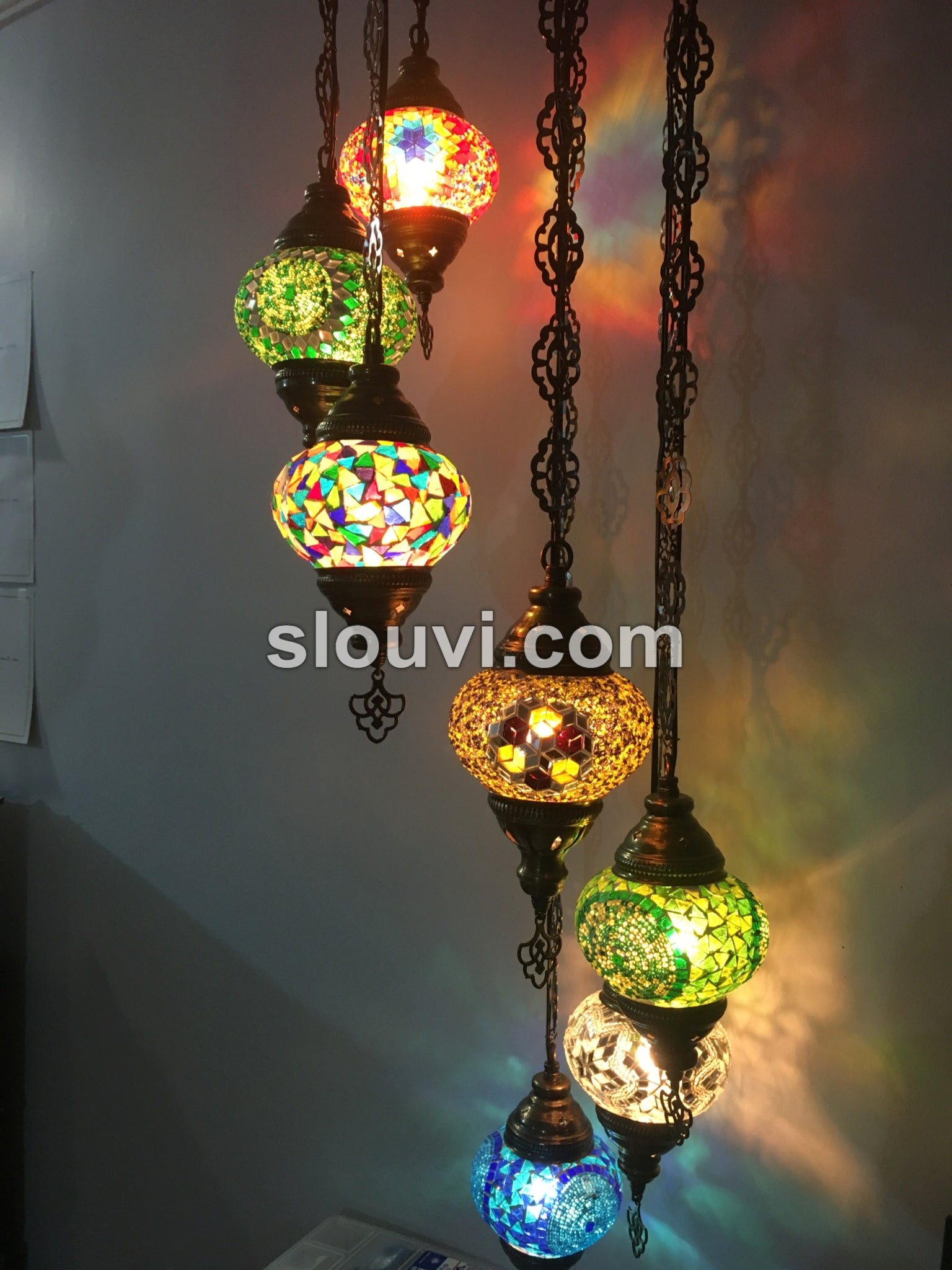 7 ball turkish mosaic chandelier turkishlights 7 ball turkish mosaic chandelier aloadofball Images