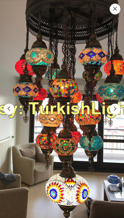Turkish Mosaic Chandelier With 20 Medium Globes and 1 XL large Globe - TurkishLights.NET