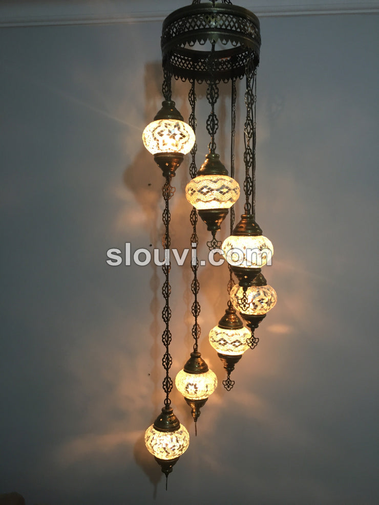 7 - BALL TURKISH MOSAIC CHANDELIER, WHITE - TurkishLights.NET