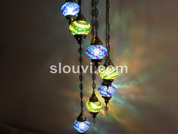 7 - BALL TURKISH MOSAIC CHANDELIER, Blue and Green Wave - TurkishLights.NET