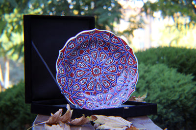 "HAND MADE TURKISH CERAMIC PLATE, 30 cm(11.8""), WITH CASE NO30 - TurkishLights.NET"