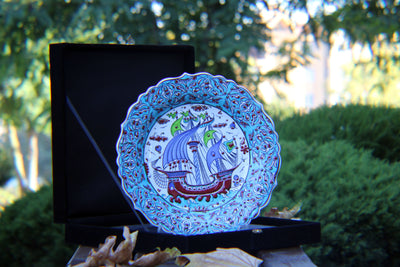 "HAND MADE TURKISH CERAMIC PLATE, 30 cm(11.8""), WITH CASE NO36 - TurkishLights.NET"