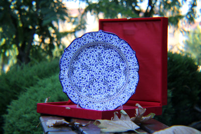 "HAND MADE TURKISH CERAMIC PLATE, 30 cm(11.8""), WITH CASE NO31 - TurkishLights.NET"