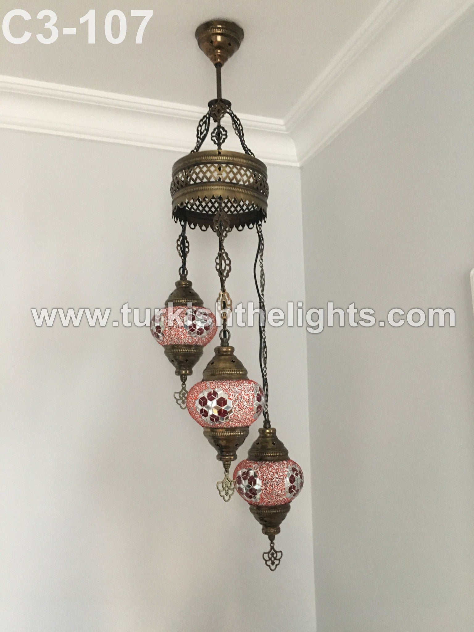 3 ball turkish mosaic chandelier red turkishlights 3 ball turkish mosaic chandelier red aloadofball Images