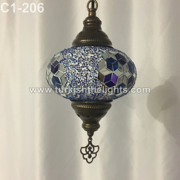 Turkish Handmade Mosaic  Hanging Lamp - Large Globe - TurkishLights.NET