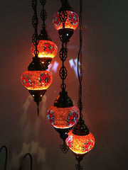 5 BALL TURKISH MOSAIC CHANDELIER RED EYES - TurkishLights.NET