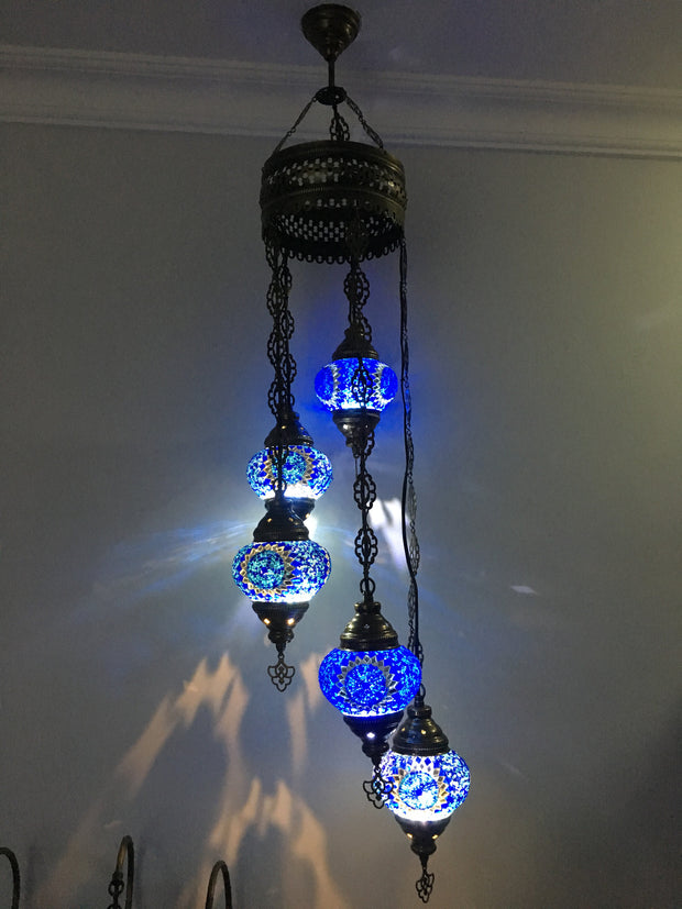 5 BALL TURKISH MOSAIC CHANDELIER BLUE SUNFLOWER - TurkishLights.NET