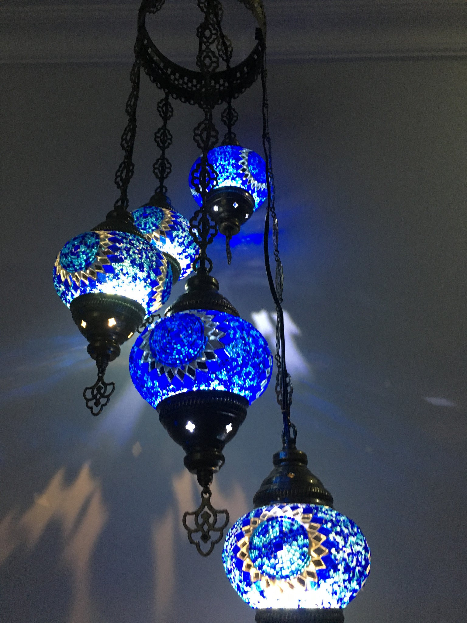 5 ball turkish mosaic chandelier blue sunflower turkishlights 5 ball turkish mosaic chandelier blue sunflower aloadofball Images