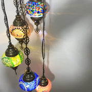 5 BALL TURKISH MOSAIC CHANDELIER MIX GLOBES - TurkishLights.NET